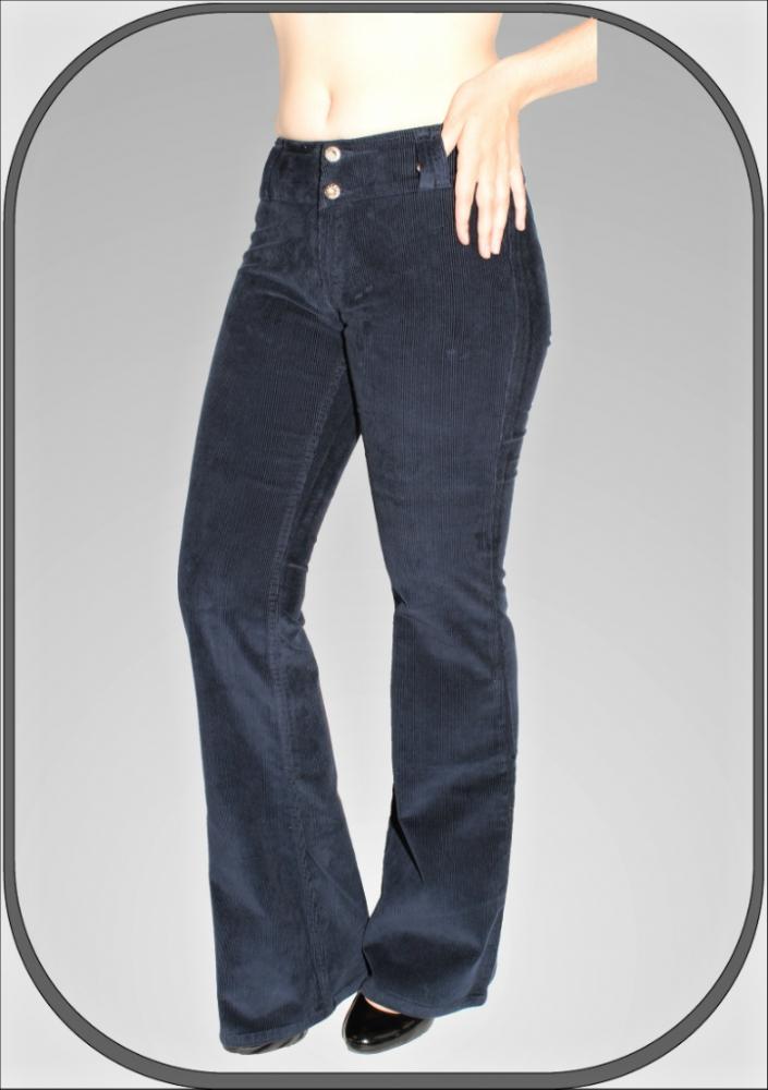 Dámské modré manšestrové kalhoty 5209 -1 80e61a3b1d