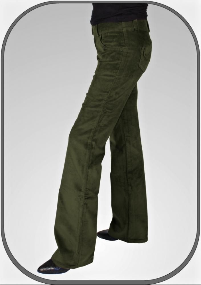 Dámské zelené bokové manšestráky 5209 - e08c031553