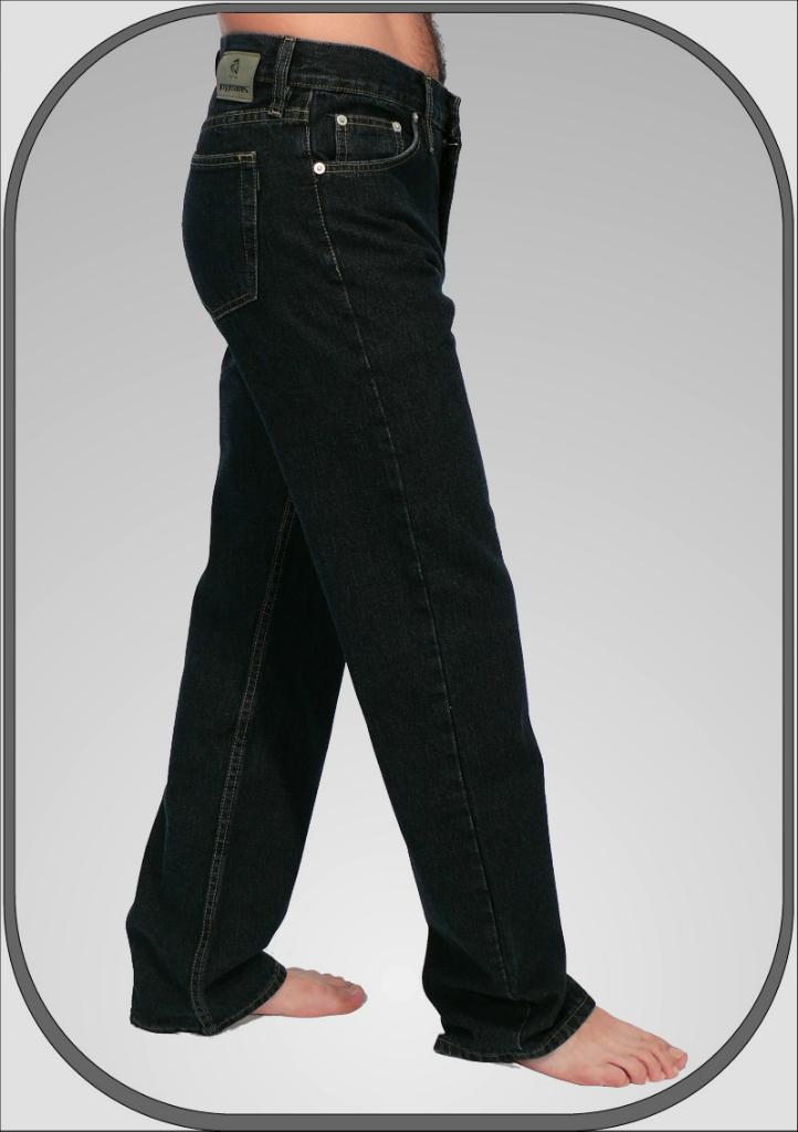 Pánské tmavě modré elastické rifle v klasickém střihu a zkrácené délce.  Vnitřní délka nohavice je 76cm. Kalhoty se zapínají na zip a jeden knoflík. 4e59380ff8